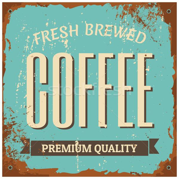 Stockfoto: Koffie · metaal · teken · vintage · stijl · tin