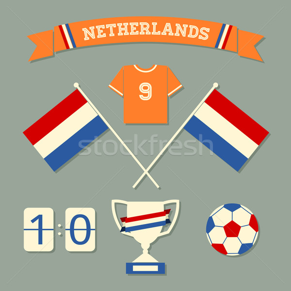 Niederlande Fußball Symbole Sammlung Set Design Stock foto © ivaleksa
