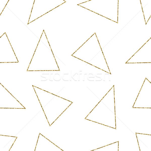 Сток-фото: бесшовный · геометрическим · рисунком · шаблон · золото · блеск