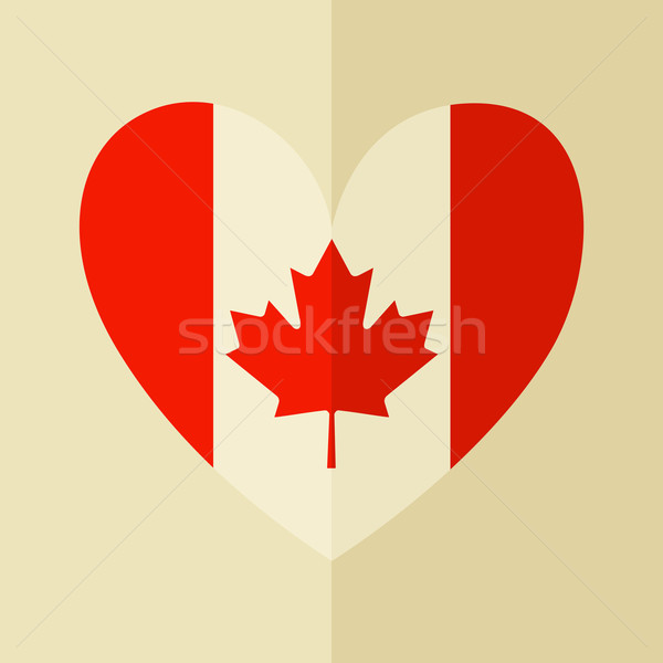 Drapeau canadien icône design forme coeur feuille Photo stock © ivaleksa