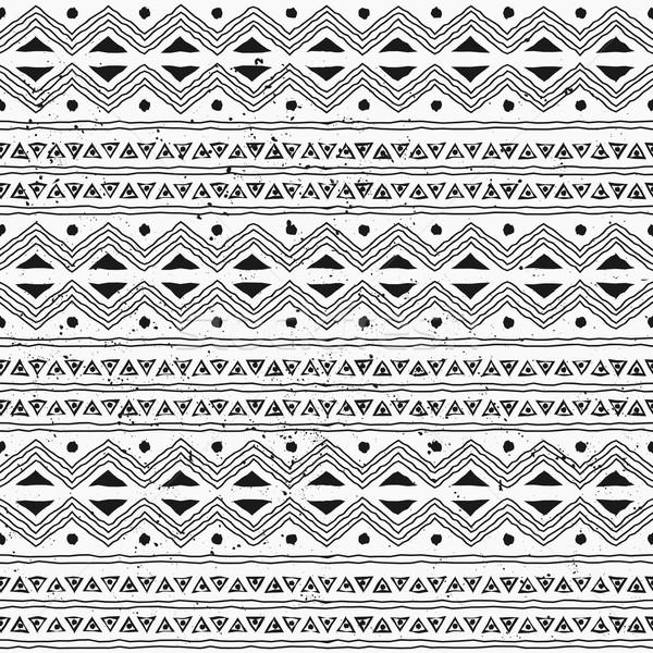Bezszwowy plemiennych stylu wzór czarno białe Zdjęcia stock © ivaleksa