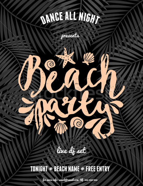 Palm Leaves and Hand Lettered Text Flyer Design Stock photo © ivaleksa