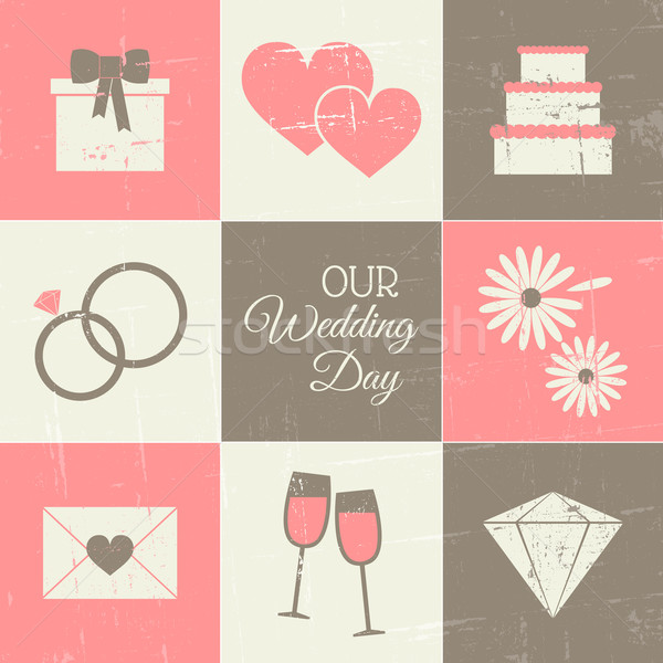 Bruiloft dag ingesteld vintage stijl iconen Stockfoto © ivaleksa