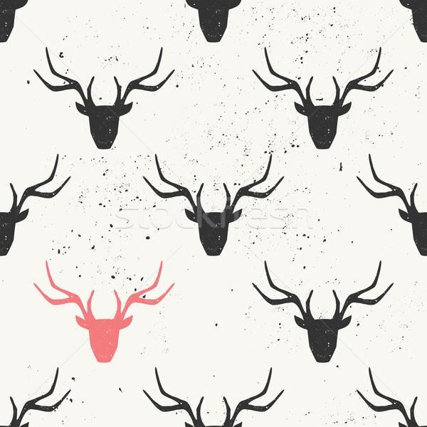 ストックフォト: 鹿 · 頭 · シルエット · 黒 · ピンク