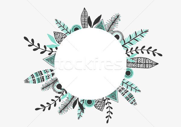 Tribal Frame Greeting Card Design Stock photo © ivaleksa