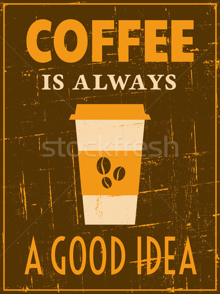 Retro koffie poster vintage stijl drinken Stockfoto © ivaleksa