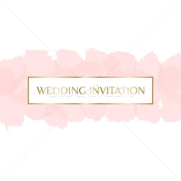 Hochzeitseinladung Design Gold Briefe Nachricht Pastell Stock foto © ivaleksa