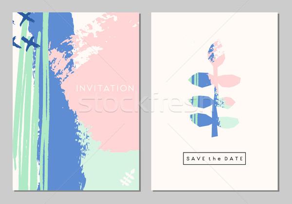 Esküvő irodaszer szett kettő terv kártyák Stock fotó © ivaleksa