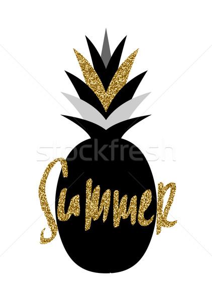 Siyah altın ananas dizayn el yaz Stok fotoğraf © ivaleksa