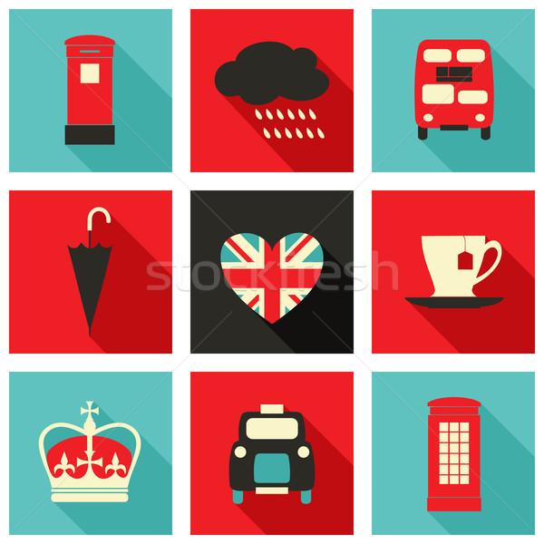 Londen iconen collectie ingesteld lang schaduw Stockfoto © ivaleksa