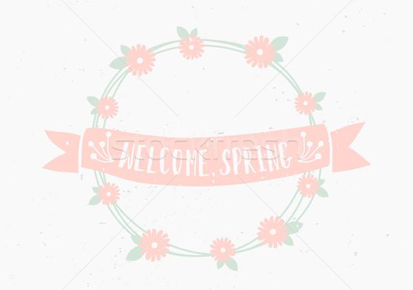 Сток-фото: рисованной · весны · шаблон · стиль · цветочный
