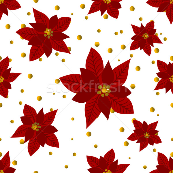 Gold Confetti and Poinsettias Seamless Pattern Stock photo © ivaleksa