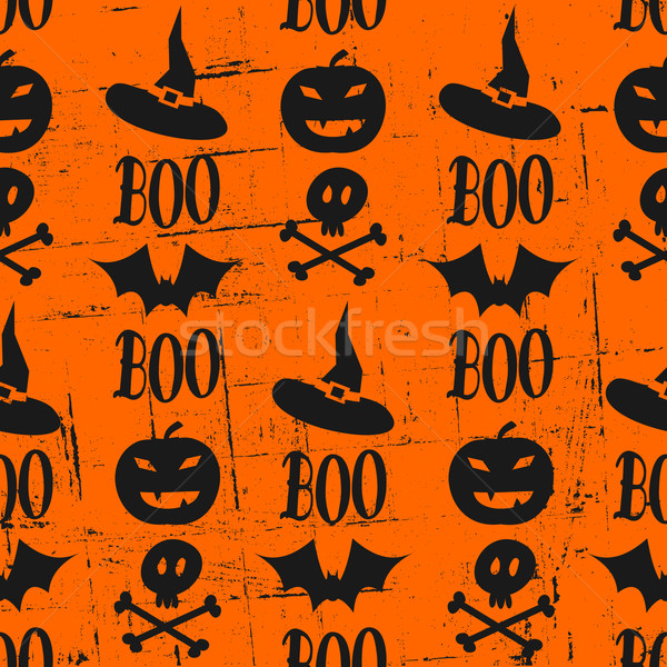 Сток-фото: Хэллоуин · бесшовный · Гранж · шаблон · оранжевый · черный