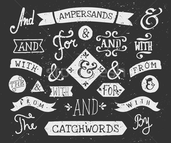 Hand Drawn Chalkboard Ampersands and Catchwords Stock photo © ivaleksa