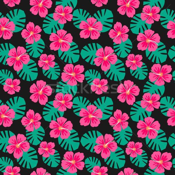 Ebegümeci çiçekler palmiye yaprağı tekrar Stok fotoğraf © ivaleksa