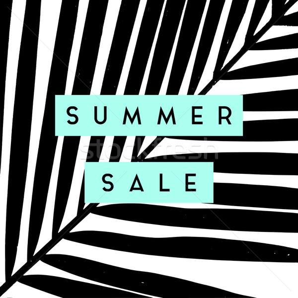 Nyár vásár poszter terv pálmalevelek sziluettek Stock fotó © ivaleksa