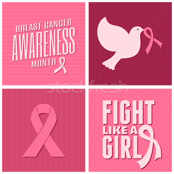 Breast Cancer Awareness Cards Collection Stock photo © ivaleksa