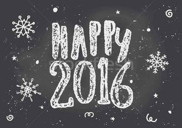 Szczęśliwy 2016 kartkę z życzeniami szablon Tablica stylu Zdjęcia stock © ivaleksa