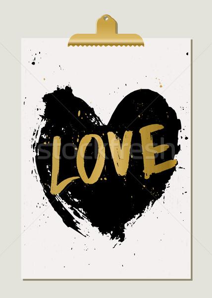 Black Heart Love Poster Stock photo © ivaleksa