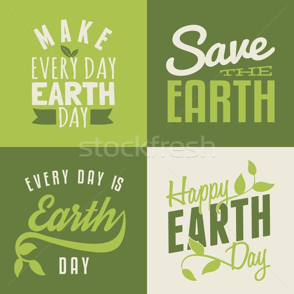 Föld napja kártyák gyűjtemény szett négy tipográfiai Stock fotó © ivaleksa