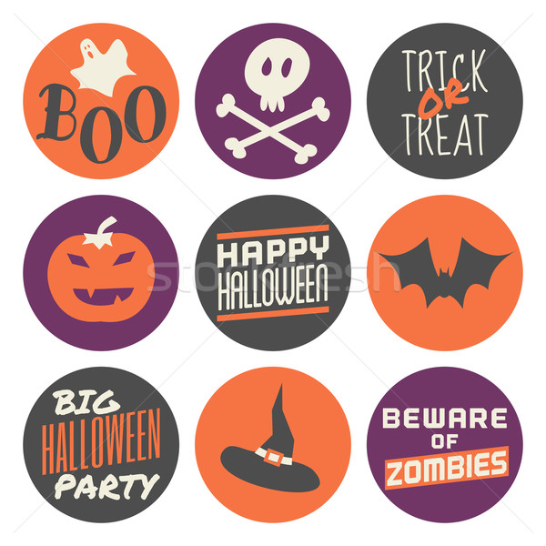 Stock photo: Halloween Stickers Set