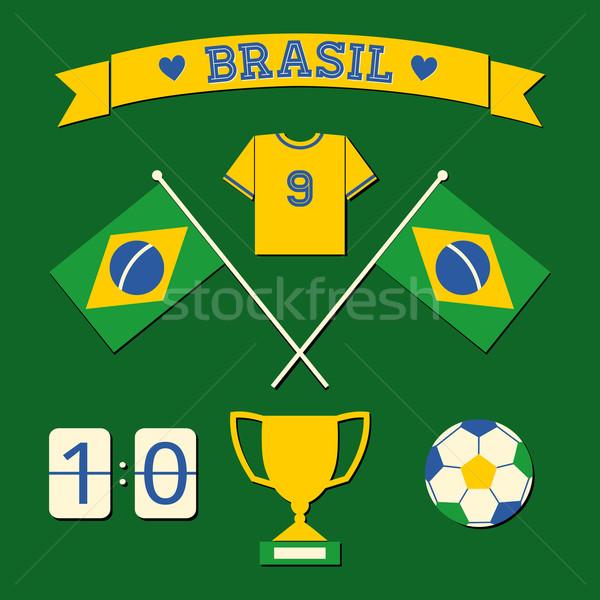 Brazylia ikona kolekcja zestaw projektu piłka nożna Zdjęcia stock © ivaleksa