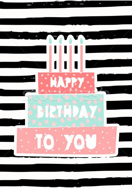 Verjaardagstaart wenskaart ontwerp sjabloon cute kaarsen Stockfoto © ivaleksa