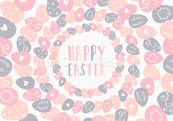 Hand Drawn Easter Greeting Card Template Stock photo © ivaleksa