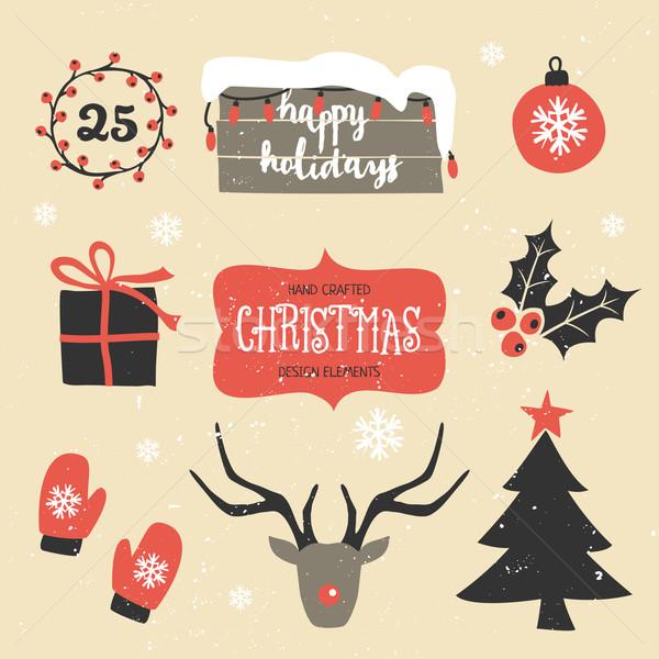 クリスマス デザイン 要素 セット 伝統的な ヴィンテージ ストックフォト © ivaleksa