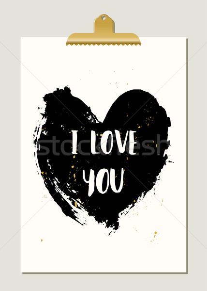 Black Heart Typographic Poster Stock photo © ivaleksa