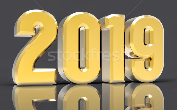 3D Isolated Gold 2019 Year Stock photo © IvanC7