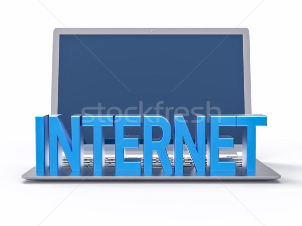 3D bleu internet mot isolé portable Photo stock © IvanC7