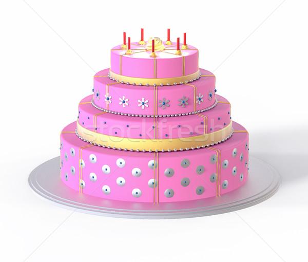 3D isolé rose gâteau illustration mariage Photo stock © IvanC7