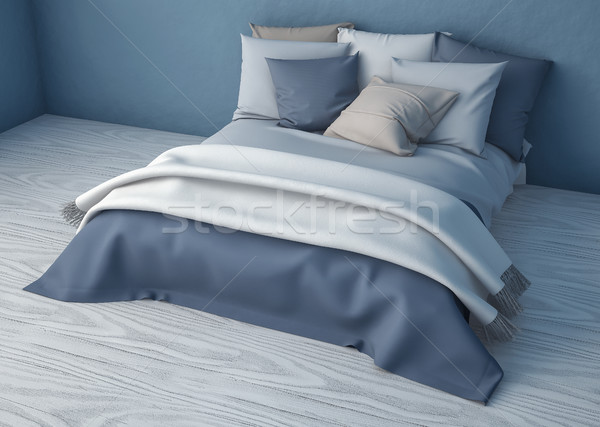 3D yatak yatak odası örnek rahat dinlenmek Stok fotoğraf © IvanC7