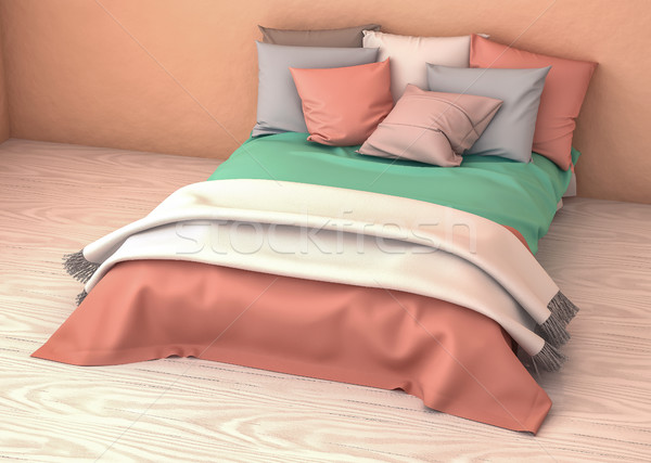 3D Bed Bedroom Illustration. Comfortable Relax Concept Stock photo © IvanC7