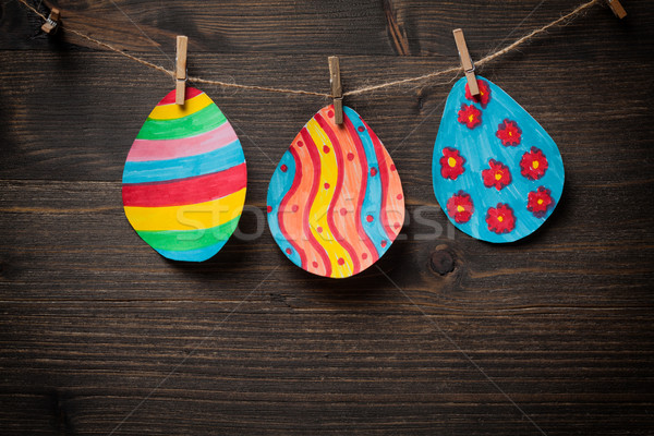 Kleurrijk tekening paaseieren houten papier voorjaar Stockfoto © IvicaNS