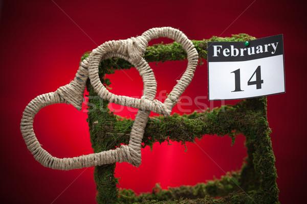 14 sevgililer günü kırmızı kalp takvim kâğıt Stok fotoğraf © IvicaNS