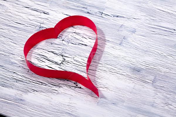 Hart houten valentijnsdag achtergrond Rood Stockfoto © IvicaNS