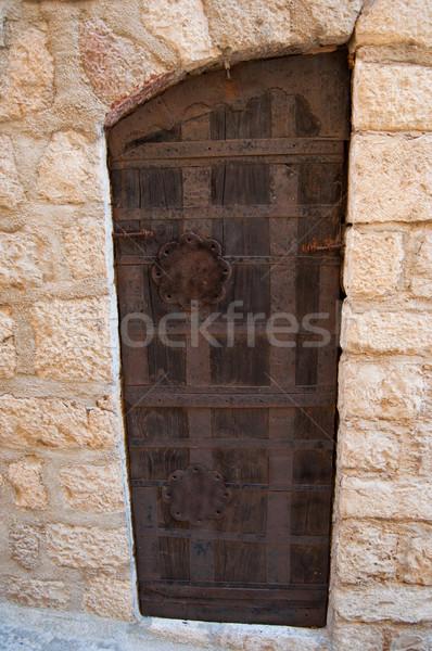 Régi fa ajtó fém fogantyú épület fa Stock fotó © IvicaNS