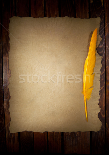 Tüy Eski kağıt kalem çerçeve Retro mürekkep Stok fotoğraf © IvicaNS