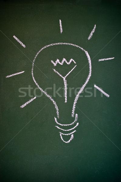 Villanykörte iskolatábla krétarajz kreativitás felirat technológia Stock fotó © IvicaNS