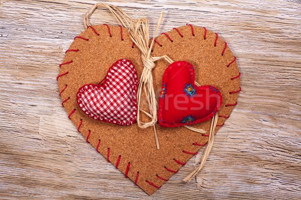 Színes szövet szívek fából készült hátterek valentin nap Stock fotó © IvicaNS