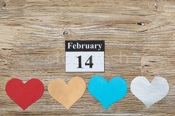 February 14, Valentine's day, heart from paper Stock photo © IvicaNS