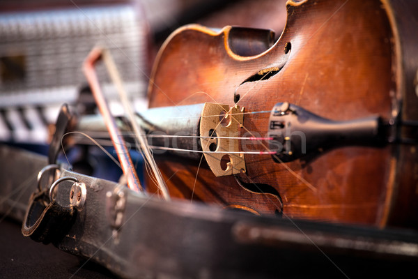 Vintage old used violin and bow Stock photo © IvicaNS