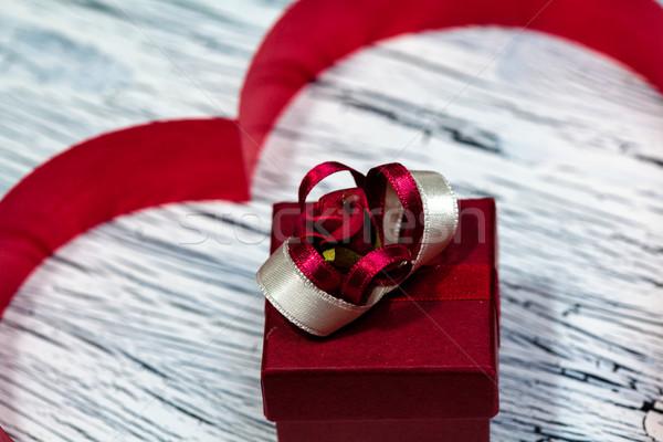 14 valentin nap szív vörös szalag papír háttér Stock fotó © IvicaNS