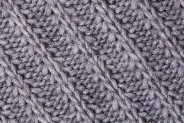 Stock photo: Closeup macro texture of knitted wool fabric