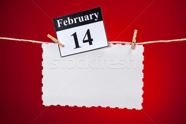 14 dia dos namorados branco vintage papel vermelho Foto stock © IvicaNS