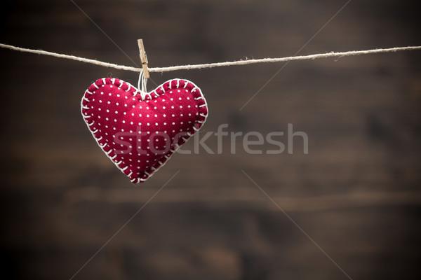 Kleurrijk weefsel harten hout achtergronden valentijnsdag Stockfoto © IvicaNS