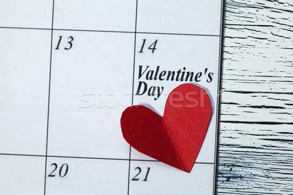 14 sevgililer günü kalp kırmızı kâğıt takvim Stok fotoğraf © IvicaNS
