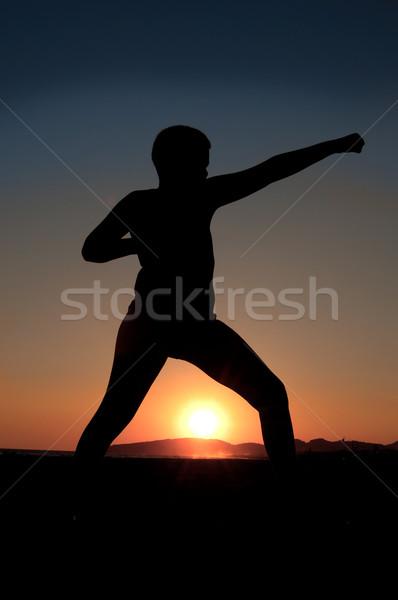Karate kid jongen oefening zonsondergang strand Stockfoto © IvicaNS